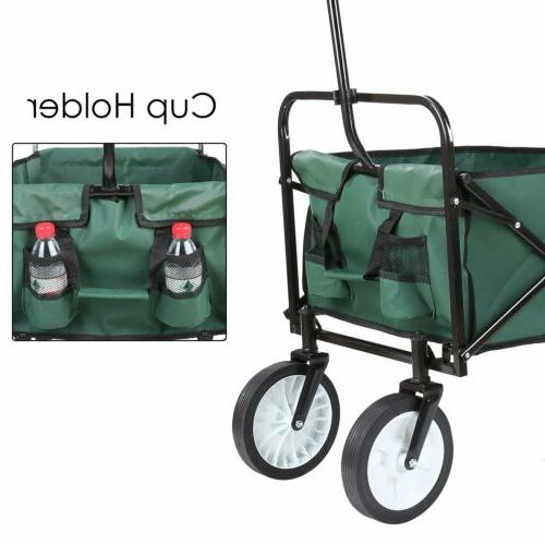 Collapsible Folding Beach Trolley Utility Cart Green