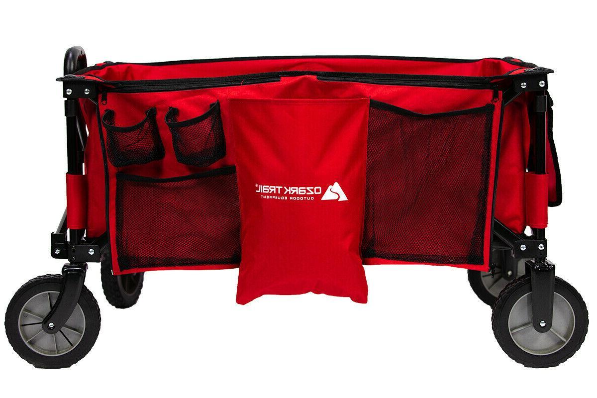 Folding Wagon w/ Ergonomic Telescoping Handle Camping Gear F