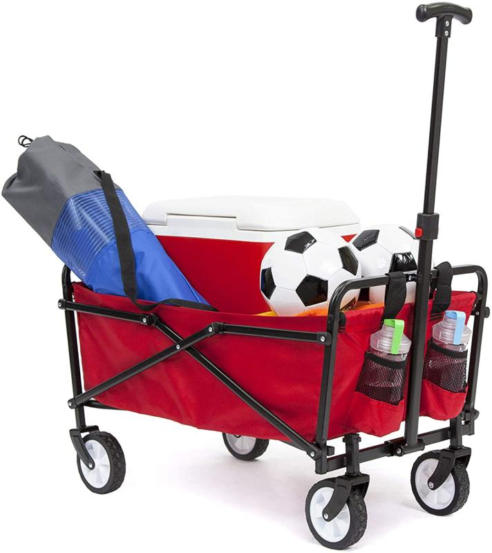 Ysc Wagon Garden Folding Utility Shopping Cart,Beach Red  (R