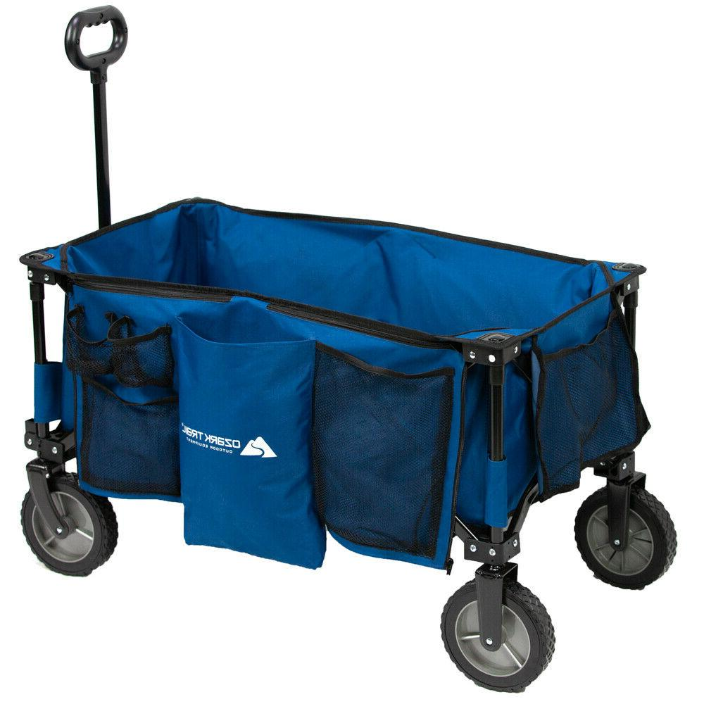 Quad Folding Wagon with Telescoping Handle Blue in color man