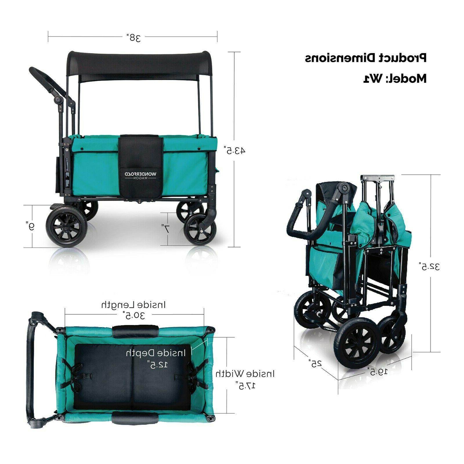 WonderFold Multi-Function Passenger Double Stroller Wagon
