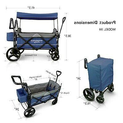 Wonderfold X2 Push Pull 2 Folding Stroller Navy NEW