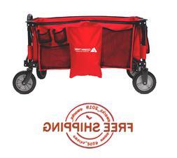 NEW Red Ozark Trail All-Terrain Quad Folding Cart/Wagon with