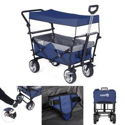 OUTDOOR FOLDING WAGON CANOPY GARDEN UTILITY CART W/ BRAKE PU