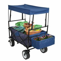 Folding Canopy Garden Utility Cart-Travel Roof Wagon Outdoor