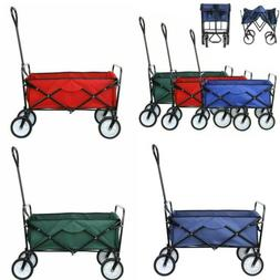 Pull Push Collapsible Folding Wagon Beach Cart Outdoor Garde