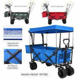 Push&Pull Collapsible Folding Wagon Cart w/Canopy Garden Bea