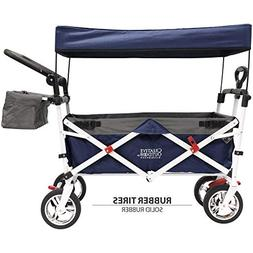 Push and Pull Kids Collapsible Wagon Stroller with Shade Can