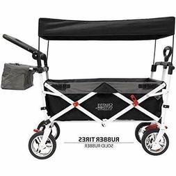 push pull collapsible folding wagon black