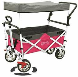 Creative Outdoor Push Pull Collapsible Folding Wagon Pink