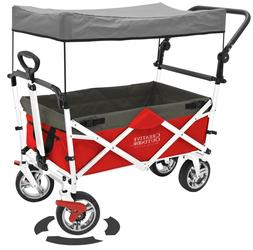 Creative Outdoor Push Pull Folding Wagon RED