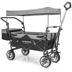 WonderFold Push Pull Utility Folding Wagon with Removable Ca