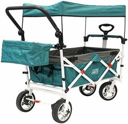 Push Pull Wagon for Kids, Foldable with Sun/Rain Shade