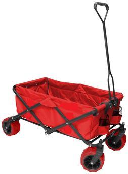 RED FOLDING ALL TERRAIN HD STEEL FRAME WAGON BIG WHEELS & RU
