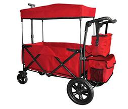 RED PUSH HANDLE AND REAR FOOT BRAKE FOLDING STROLLER WAGON O