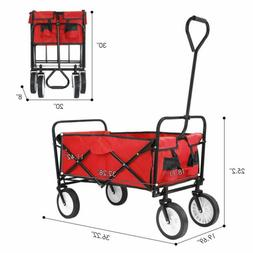 Red Wagon Cart Beach Collapsible Folding Camping Trolley Gar