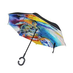 All agree Sea Turtle Ocean Inverted Umbrella Double Layer Wi