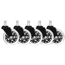 Set of 5 Office Chair Caster Rubber Swivel Wheels Replacemen