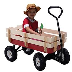 Giantex All Terrain Cargo Wagon Wood Railing Kids Children G