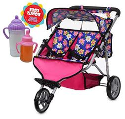 Exquisite Buggy, Twin Doll Jogger Stroller Diaper Bag a Carr