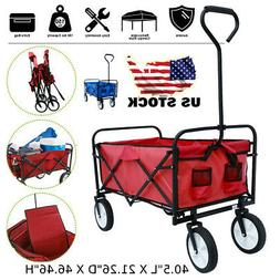 Utility Collapsible Folding Wagon Cart w/Canopy Garden Kid B