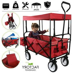 Utility Collapsible Folding Wagon Cart Canopy Garden Beach S