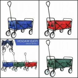 Utility Portable Folding Wagon Cart with 2 Cup Holders Beach