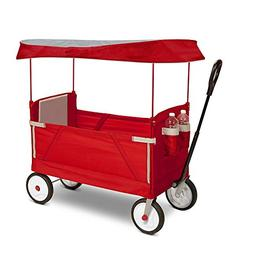 Outdoor Wagon for Kids Foldable with Canopy Transport Cargo