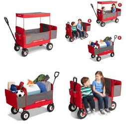Wagon Folding Canopy Kids Child Ride In Stroller Pull Wagon