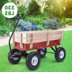 330lbs Outdoor Wagon Pulling Kid Children Garden Cart with W