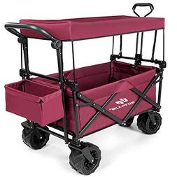 lunanice Wine red Color Folding Wagon Cart Collapsible Canop
