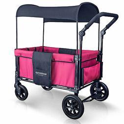 WONDERFOLD Push Folding Stroller Wagon with Canopy, Fuschia